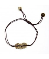 PULSERA MONEDAS I CHING 3 DORADAS HILO MARRON (AJUSTABLE)